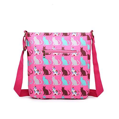Miss LuLu Umhängetasche Messenger Bag Schultertasche Damen Mädchen Drucken Wachstuch (LC1644-Katze/Grau) LC1644-Katze/Rosa