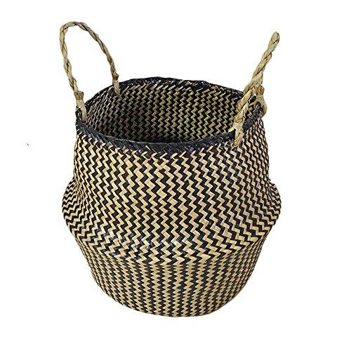 Tessuto naturale seagrass tote cesto di pancia per l'archiviazione pieghevole pianta vivaio lavanderia cesto di fiori fioriera giocattolo di stoccaggio organizzatore contenitore home decor - grande
