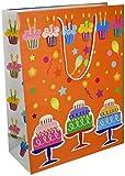 Les Couleurs de l'Emballage 20 Geschenktragetaschen mit Kordel und Glanz-Laminierung, 40 x 32 x 14 cm, geburtstagsmotiv