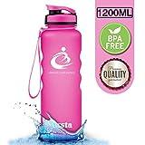 Grsta Sport Trinkflasche 1200ml - Wasserflasche Auslaufsicher, Eco Friendly BPA Frei Tritan Kunststoff Flaschen mit Frucht Filter, Sporttrinkflasche für Kinder, Gym, Yoga, Laufen, Camping, Büro …