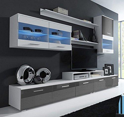 Muebles bonitos letti e mobili - mobile da soggiorno claudia bianco e grigio mod. 2 (2,5m)