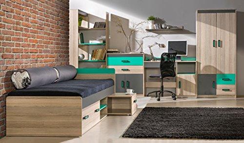 Jugendzimmer - Schreibtischaufsatz Marcel 17, Farbe: Esche Türkis / Grau / Braun - Abmessungen: 51 x 216 x 39 cm (H x B x T) - 3