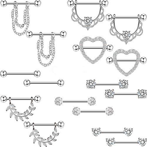 Yaomiao 8 paia capezzolo anelli in acciaio inossidabile 14 g corpo gioielli piercing lucido lingua naso anello barretta cz a forma di cuore anelli per le donne ragazze