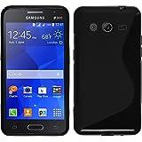 Funda de silicona para Samsung Galaxy Core 2 - S-Style negro - Cover PhoneNatic Cubierta + protector de pantalla