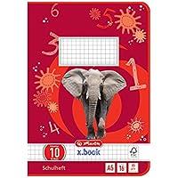Herlitz 3321007 - Cuaderno A5/16, diseño 10 (cuadrícula con margen), certificado FSC Mixed, 10 unidades, diseños variados