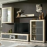 HomeSouth - Mueble de comedor con leds, salon vitrina modelo Fiordo, acabado color Cambria y Grafito, medidas:...