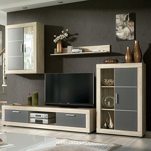 HomeSouth - Mueble de comedor con leds, salon vitrina modelo Fiordo, acabado...