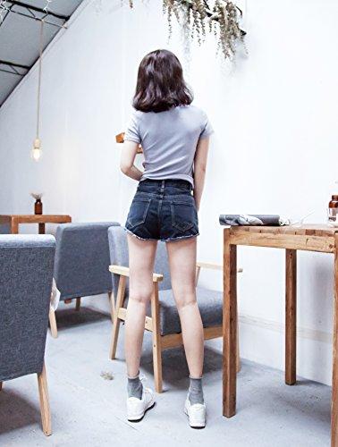 Femmes Taille Haute Denim Shorts Court Jeans Pantalon Hot Pants Short en Jean Noir