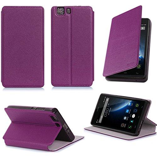 XEPTIO Doogee X5 / X5 PRO / X5S Tasche Leder Hülle Lila violett Cover mit Stand - Zubehör Etui Doogee X5 / X5 PRO / X5S Flip Case Schutzhülle (PU Leder, Handytasche Purple Accessories