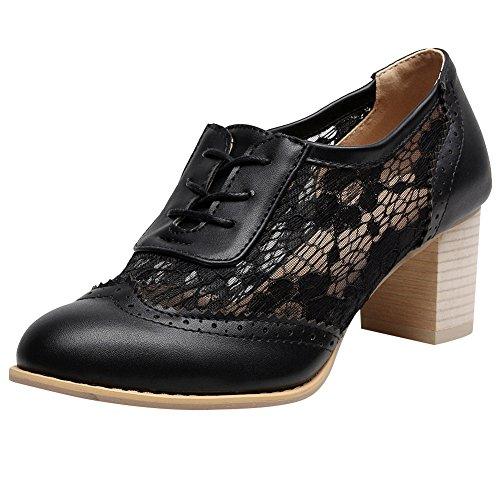 Jamron Damen Sommer Atmungsaktiv PU&Spitze Obere Oxfords Schuhe Elegant Blockabsatz Haferlschuh Abendschuhe Schwarz SN02107 EU42