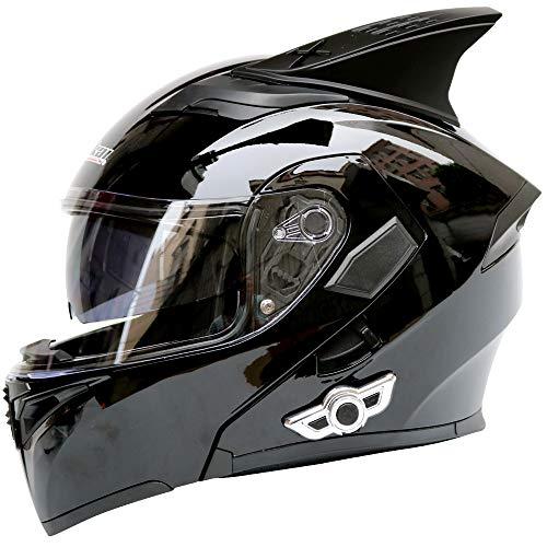 Klappen Sie oben Motorrad-Bluetooth-Helm, Antifogging-Doppellinse Jethelm Eingebauter Verstärker Unterstützt Stereo-Anruf für männliche, weibliche Wassergesichtshelm mit offenem Gesicht,black,M