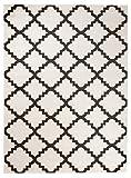 Orientalisches Marokkanisches Teppich - Dichter und Dicker Flor Modern Designer Muster - Ideal Für Ihre Wohnzimmer Schlafzimmer Esszimmer - Weiß Braun - 120 x 170 cm Casablanca Kollektion von Carpeto