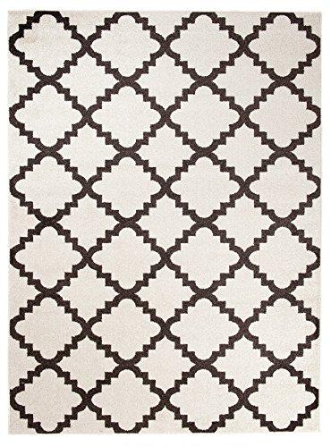 Orientalisches Marokkanisches Teppich - Dichter und Dicker Flor Modern Designer Muster - Ideal Für Ihre Wohnzimmer Schlafzimmer Esszimmer - Weiß Braun - 80 x 150 cm Casablanca Kollektion von Carpeto