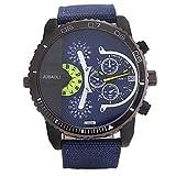Belles montres, JUBAOLI Homme Montre Décontractée Chinois Quartz Grand Cadran Acier Inoxydable Bande Cool Noir Blanc Rouge Vert Piscine ( Couleur : Bleu )