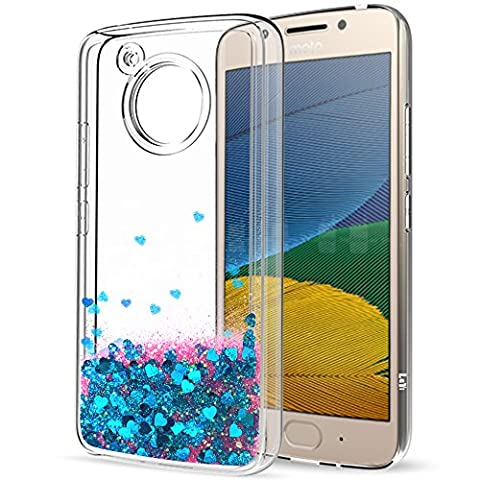 Moto G5 Liquid Case with HD Screen Protector for Girls Women,LeYi Cute Shiny Glitter Moving Quicksand Clear TPU Full Body Protective Phone Case for Motorola Moto G5 ZX Blue