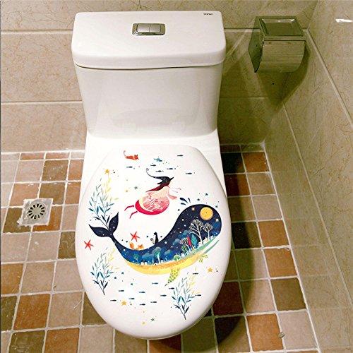 phin Hexe Katze Wandaufkleber Abziehbilder Badezimmer Waschmaschine Toilette Badezimmer Halloween Dekoration ()