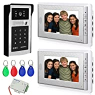 "AMOCAM Video Doorbell Phone, 7"" Video Intercom Doorphone 2-Monitor System, Wired Video Door Phone Touch Alloy HD Camera, ID Keyfobs/Password Keypad Unlocking Option for Villa Office Apartment"