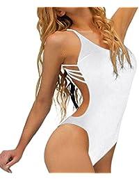 ❉Femmes Maillot De Bain Une Pièce Bandage Bikini Push-Up Rembourré Maillot  De Bain Dos Nu Swimwear Plage… 84098f519b5