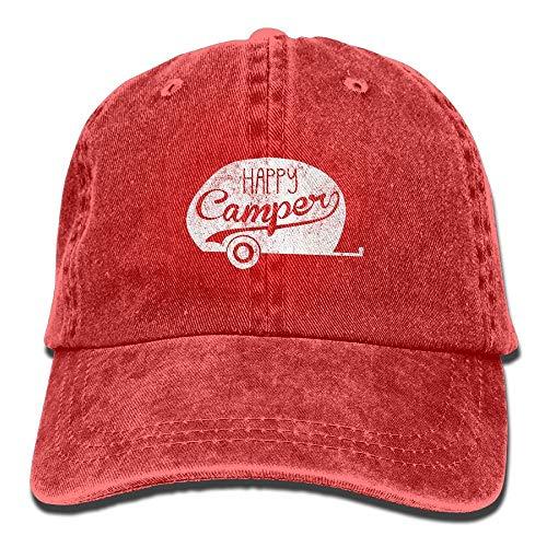 Paint0 Happy Camper Vintage Vintage Washed Dyed Cotton Twill Low Profile Adjustable Baseball Cap Black