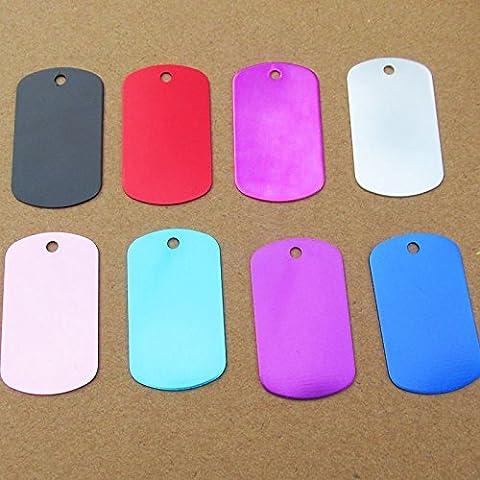 Frixie (TM) 10pcs / lot rettangolo alluminio Dog Name Tag Double Sided personalizzato inciso Pet ID Tag 50 * 27mm