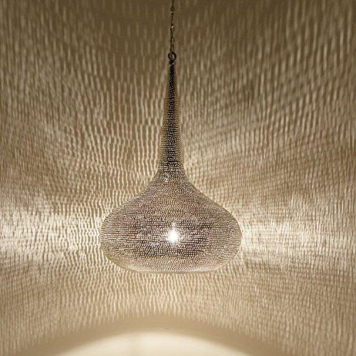 Orientalische Lampe marokkanische Hängelampe Mirbat D36 Silber H 55 cm Messing-Lampe mit E27 Fassung | Kunsthandwerk aus Marokko | Prachtvolle Hängeleuchte für Lichteffekte wie aus 1001 Nacht | EL2310