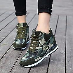 de La Mujer Camuflaje Zapatillas de Tacón Alto Ejército Verde Aumentar La Altura Zapatos 6.5cm Mujer Botas Cuñas 38