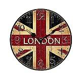 PIXNOR Reloj de pared de madera, Vintage reloj de pared redondo, Non-ticking Silencioso británico bandera estilo Country estilo