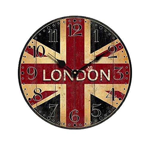 NUOLUX Horloge de mur bois silencieux de Style Non-coutil avec Londres du pavillon britannique Vintage