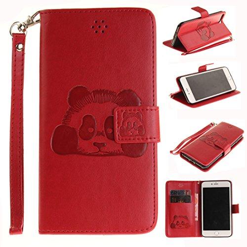 Pheant® Apple iPhone 7 Plus (5.5 pouces) Coque Rouge Étui à Rabat Pochette en Cuir PU Cover Gel Housse de Protection avec Fonction de Support et Fermeture Magnétique Panda Motif de daufrage Rouge