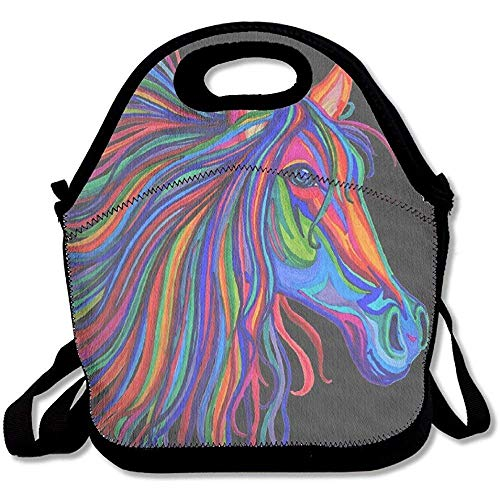 Lunch Boxes Rainbow Horse Head Lunchbox Food Container Lunch Tote Handbag Cool Fashion Designer Lunch Box For Work, Office, School