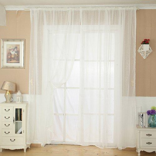 Ouneed® Gardinen , 1 PC Solid Color Tulle Türfenstervorhang drapieren Panel Sheer Schal Valance für Wohnzimmer Schlafzimmer 200 X 100CM (Weiß) -