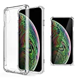 Moozy Coque Silicone Transparente pour iPhone X/iPhone XS - Anti Choc Crystal Clear...