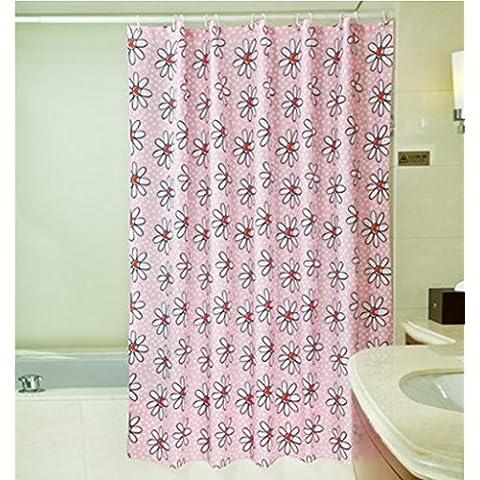 GYMNLJY Poliestere Rosa tenda impermeabile spessa bella vasca da bagno doccia cortina di Bagno Decorazione tagliato tenda d'attaccatura ,
