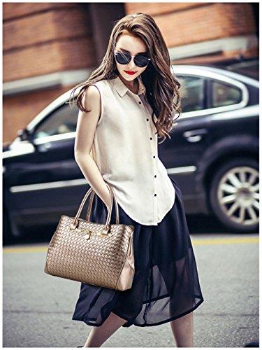 Tibes modo dellunità di elaborazione della borsa del cuoio + Shoulder Bag + Purse 3pcs Bag Nero B Golden 2