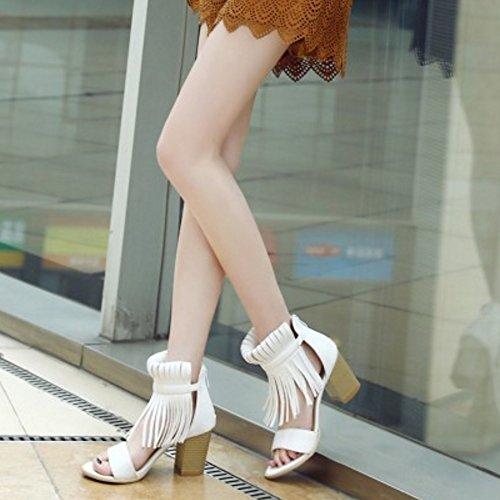 COOLCEPT Femmes Mode Orteil ouvert Bloc Talon Sandales Stylish Franges Chaussures with Fermeture Eclair Beige