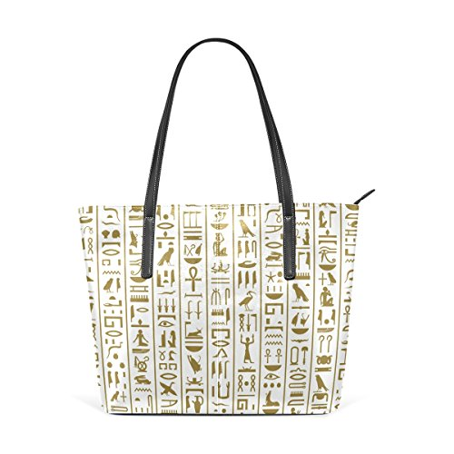 COOSUN Alter ägyptischen Hieroglyphen PU-Leder-Schulter-Beutel-Geldbeutel und Handtaschen-Taschen-Tasche für Frauen Mittel muticolour (Ägyptische Tasche)