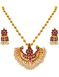 JFL - Traditional & Ethnic One Gram Gold Plated Red & Green Stone, Pearl Designer Pendant Set With Earring For...