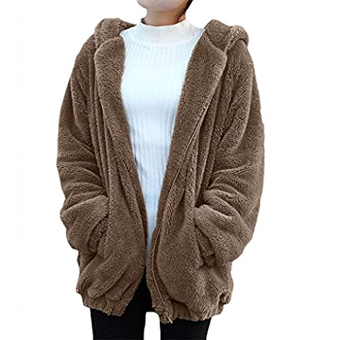Damen Bekleidung Vovotrade ❀❀ Hot Girl Winter Loose Snapper Hoodie Rugged Jacke Nette Hoodie Pullover (Size:XL, Khaki)