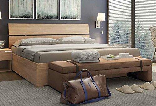 Cama de matrimonio con cabecero y mueble al pie de la cama, modelo Enjoy, color roble, 166 x 83 x 201 cm (ancho x alto x largo), con compartimento de almacenaje