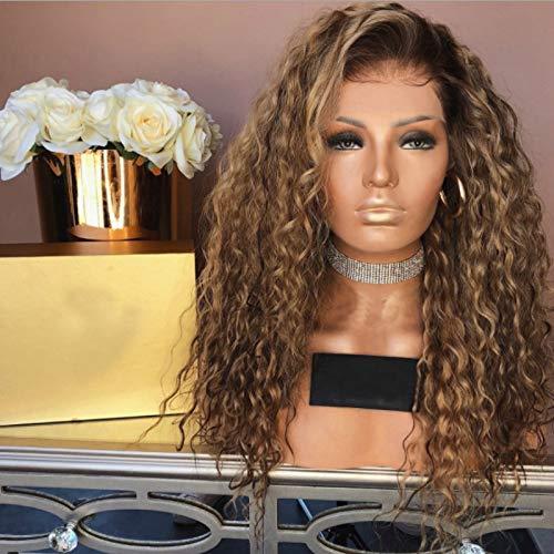 Doofang lockige Afro-Perücke aus Kunsthaar mit Ombré-Schwarz and braun/blond Mix, 24inch, Perücken lange lockige, Synthetisches Haar