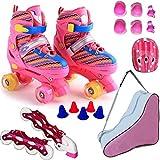 ZCRFY Rollschuhe Inline-Skates Verstellbares Einreihiges Zweireihiges 2-in-1-Jungen-Mädchen 4-Rad-Rollerblades Für Anfänger Kleinkinder Kinder Schlittschuh Geburtstagsgeschenk,Pink-Set2-L(38-42) Code