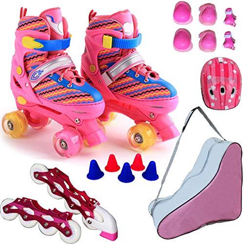 ZCRFY Rollschuhe Inline-Skates Verstellbares Einreihiges Zweireihiges 2-in-1-Jungen-Mädchen 4-Rad-Rollerblades Für Anfänger Kleinkinder Kinder Schlittschuh Geburtstagsgeschenk,Pink-Set2-S(27-32) Code