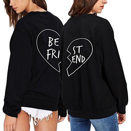 *Best Friends Pullover Für 2 Damen Passende Shirt Partner Hoodie mit Aufdruck von Ziwater (BE-S+ST-S, Schwarz)*
