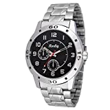 Trendy Silver Stainless Steel Strap Watch, Round Black Dial Analog Watch For Men