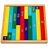 Natureich Montessori Mathematik Spielzeug aus Holz zum Zahlen lernen mit Zahlenbalken in Schrift und Ziffern, Bunt / Natur ab 3 Jahre für die frühe Motorik Entwicklung & Ausbildung ihres Kindes