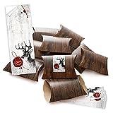 25 kleine Geschenkschachteln Geschenk-Boxen Kartons braun 14,5 x 10,5 + 3 cm mit Aufkleber Banderole