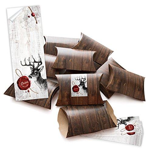 """10 kleine Geschenkschachteln Geschenk-Boxen Kartons braun 14,5 x 10,5 + 3 cm mit Aufkleber Banderole\""""Deins\"""" Hirsch mit rotem Wachs-Siegel - selber basteln und befüllen - als Verpackung"""