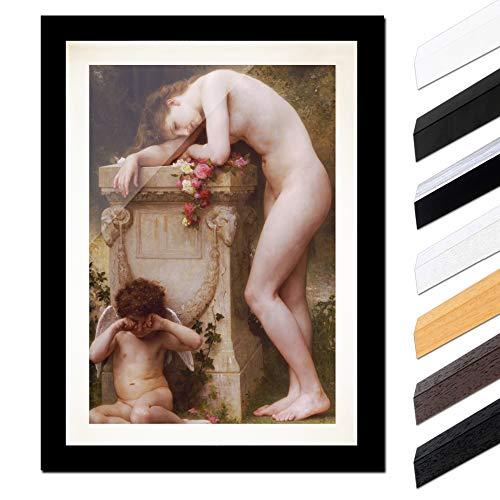 Bild mit Rahmen - William-Adolphe Bouguereau Die Elegie 40x60cm ca. A2 - Gerahmter Kunstdruck inkl. Galerie Passepartout Alte Meister - Rahmen schwarz glatt - Moderne Sage-galerie