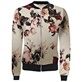 Janisramone Womens Ladies New Vintage Floral Print Crop Bomber Jacket Zipper Up Biker Outwear Coat Top