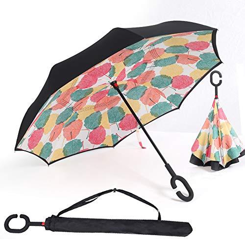 Paraguas Invertido, Paraguas Plegable, reversible, con protección contra rayos UV, con mango en forma de C invertida. Paraguas de doble capa a prueba de viento (106 cm). Foglia di Acero
